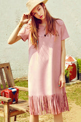 Embroidered and Fringed Faux Suede Dress