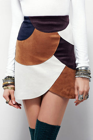 Color Blocked Leather Skirt