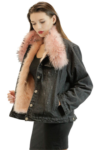 Blue and Black Faux Fur Jacket
