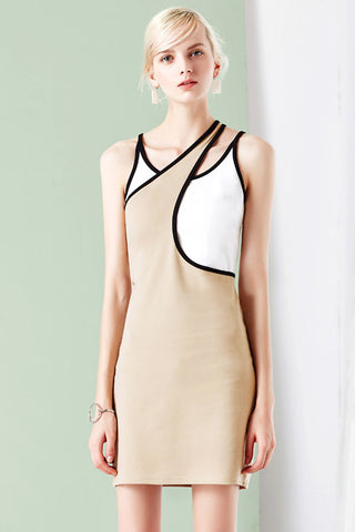 Asymmetrical Sleeveless Dress with Slim Fit