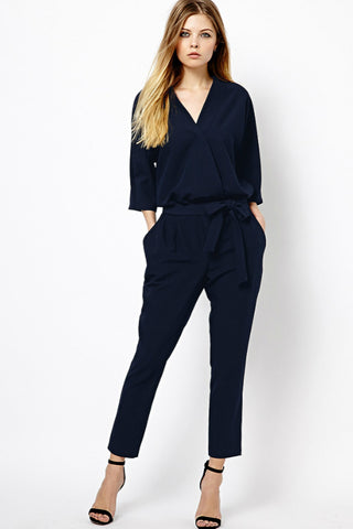 Dark Blue V-Neck Jumpsuit
