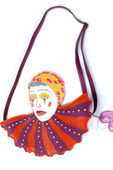 Unlogical Poem Leather Embroidered Clown Bag