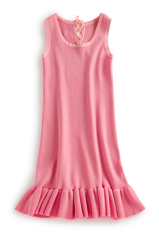 Pink Tank Dress with Ruffle