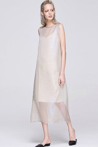 Pale Pink Mesh Sheer Maxi Dress