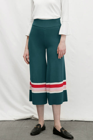 Green Wide Leg Pants with Stripes