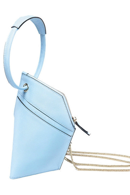 Double-X Ring Leather Shoulder Bag