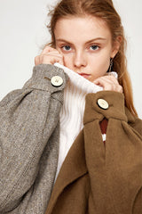 Splicing Collar Lapels Woolen Coat