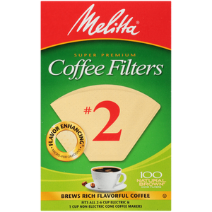 Melitta #2 Cone Filter Paper Natural Brown - 100 Count