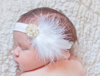 Feather Pearl Embellishment Elastic Headband Girls Kids Toddler Children Infant Baby Clothes