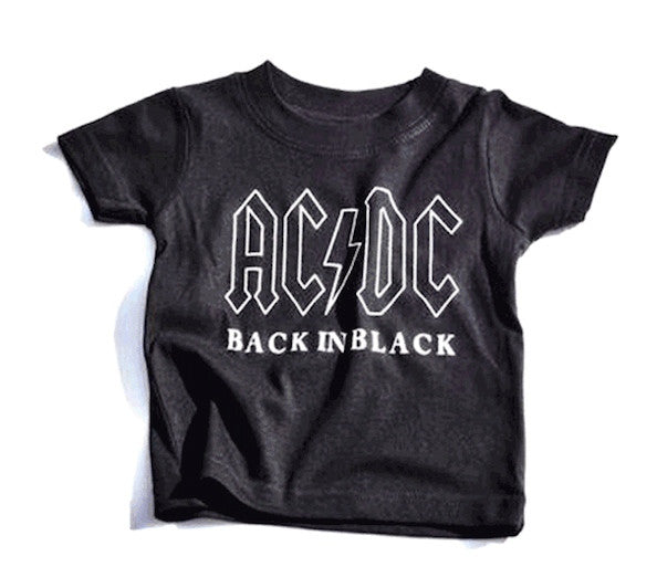 ACDC Black White Unisex Boys Girls Kids Children Toddler Baby Infant Tee Clothes