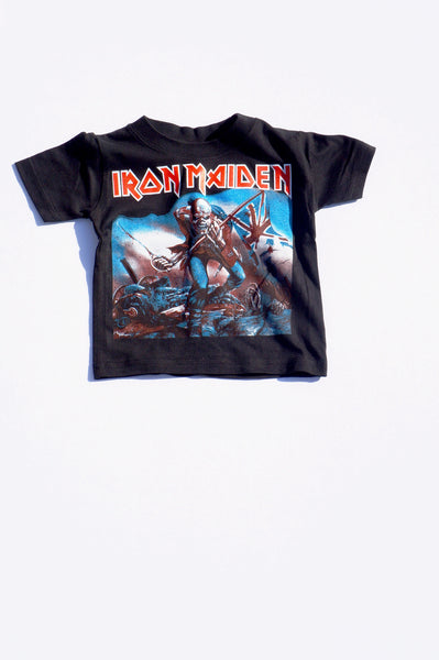 Black Iron Maiden Music Tee for Boys Girls Children Kids Toddler Baby Infant Clothing