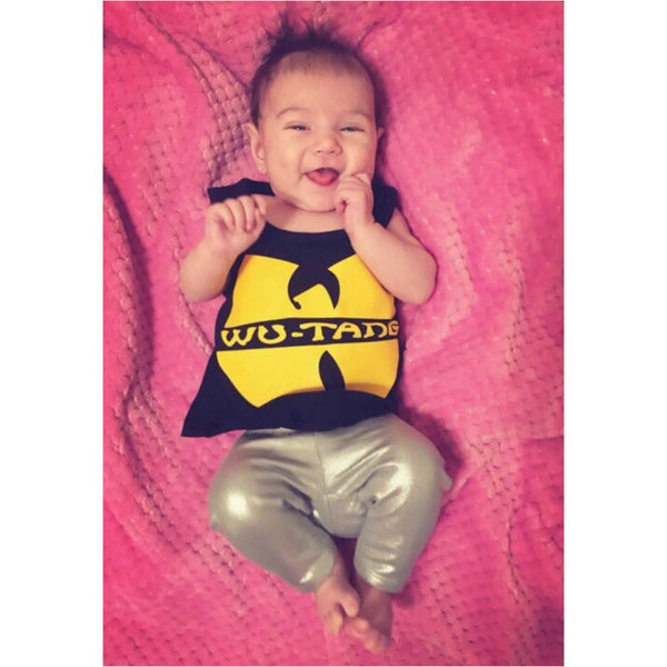 Wu-Tang Hip Hop Rap Music Black Yellow Unisex Boys Girls Kids Children Toddler Baby Infant Tank Clothes