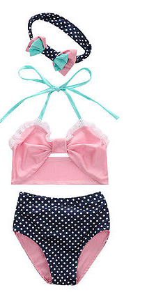 Frilly Pink White Polka Dot Navy Bikini