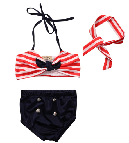 Red White Navy Bikini Halter Top Gold Buttons Brief Girls Kids Toddler Children Infant Baby Clothes
