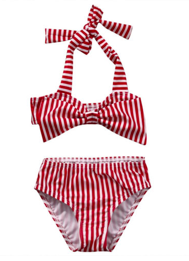 Red White Halter Bikini for Girls Kids Toddler Children Infant Baby Clothes