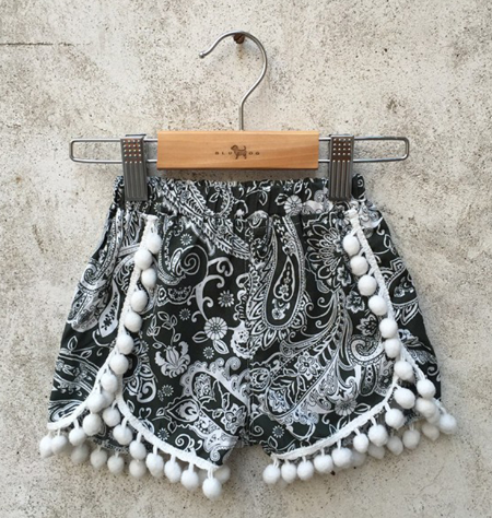 Grey & White Paisley Print Pom Pom Shorts Girls Kids Toddler Children Infant Baby Clothes