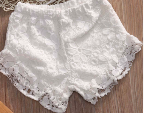 White Crochet Ruffle Shorts Girls Kids Toddler Children Infant Baby Clothes