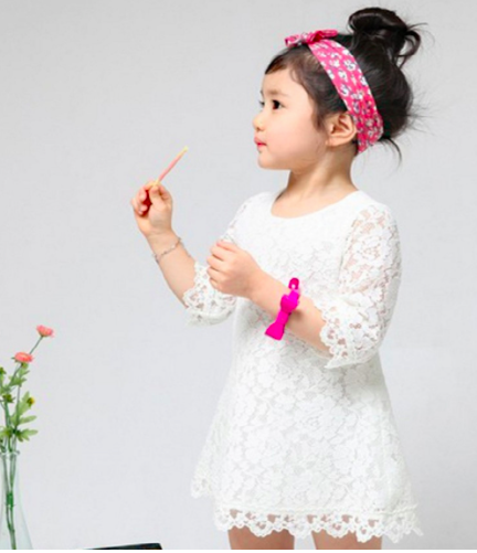 3/4 Sleeves White Lace Scallop Dress Girls Kids Toddler Children Infant Baby Clothes