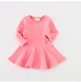 Pink Long Sleeve Jersey Dress for Toddler Infant Baby Children Kid Clothing