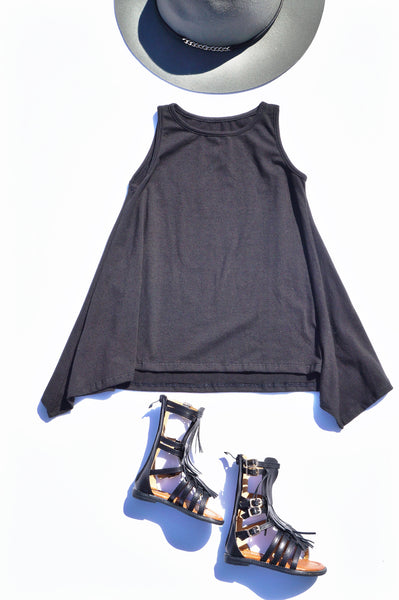 Black Sharkbite Summer Fall Dress with Gladiator Sandals for Children Baby Toddler Infant Kids