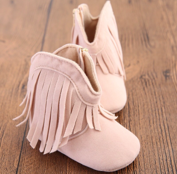 Nude Fringe Boot Baby Walker for Girls Kids Children Infant Baby Toddler