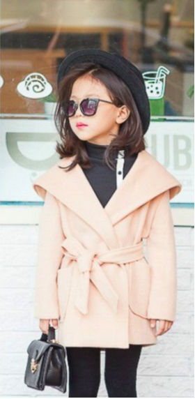 Beige Trench Coat with Hood for Girls Kids Toddler Children Infant Baby Clothes