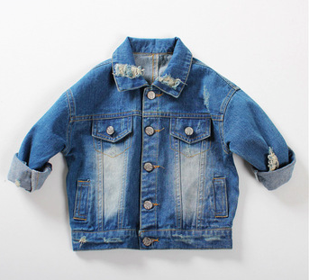 Destructed Oversized Blue Denim Jacket  Unisex Boys Girls Kids Toddler Children Infant Baby Clothes