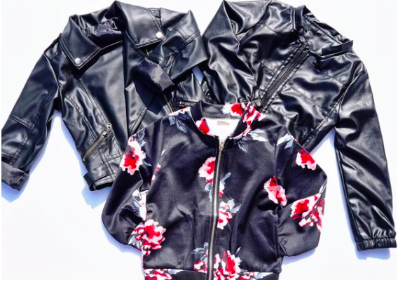 Floral Bomber Pu Moto Jacket Scuba Jacket for Boys Girls Kids Children Toddler Baby Infant Clothing