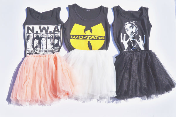 Hip Hop NWA Wu-Tang Tupac Tanks White Black Pink Tutu Skirt Girls Kids Toddler Children Infant Baby Clothes