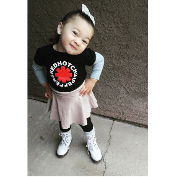 Red Hot Chili Peppers Black Red White Tee with Pink Flare Skirt and White Combat Boot Unisex Boys Girls Kids Children Toddler Baby Infant Tee Clothes