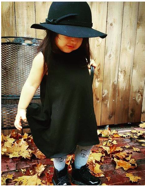 Black Sharkbite Summer Fall Dress with Big Hat and Sneakers for Children Baby Toddler Infant Kids