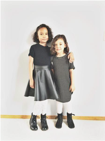 Black Tunic top with Black PU Fit & Flare Skirt with combat boots for Kids Children Baby Toddler Infant Clothing