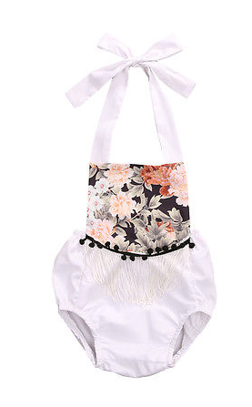 Black Floral White Halter Romper Pom Pom Girls Kids Toddler Children Infant Baby Clothes