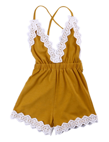 Mustard V Neck Tie Back Lace Romper for Girls Kids Toddler Children Infant Baby Clothes