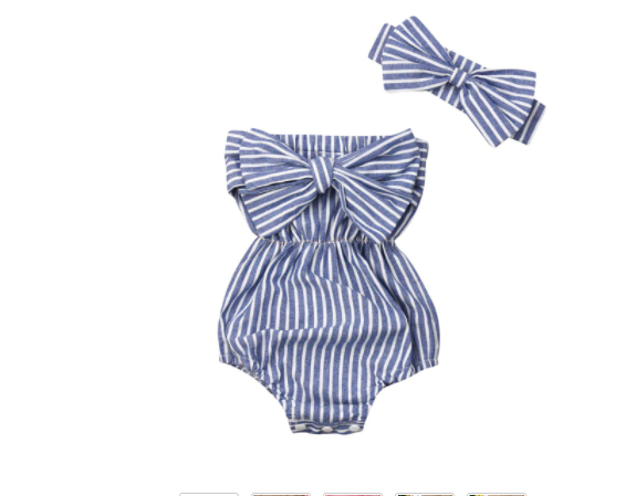 Perry Mini Stripe Tube Romper