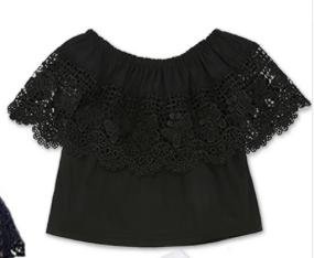 Beatrice Black Crochet Off Shoulder Top