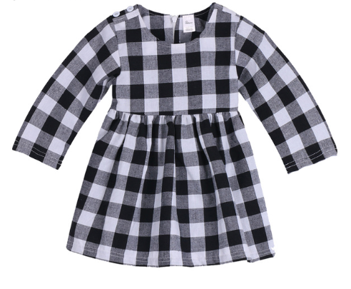 Buffalo Plaid Black & White Long Sleeve Dress