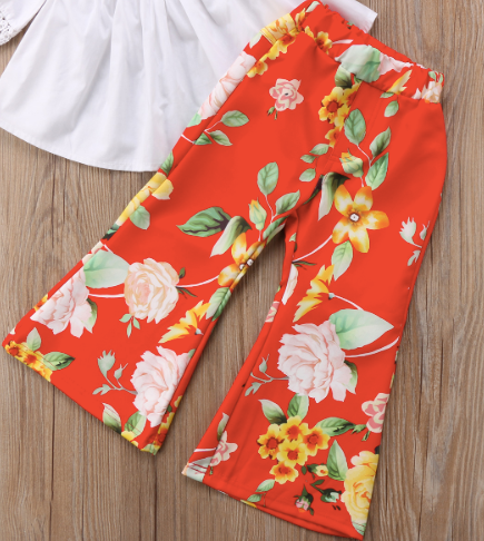 Nilla Red Floral Bell Bottom