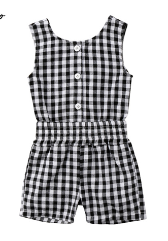 Betty Black White Gingham Cut Out Romper