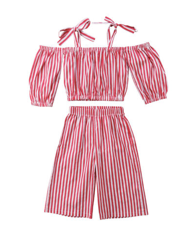 Saipan Red & White Stripe Off Shoulder Top & Pant Set