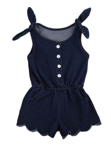 Tori Denim Scallop Romper