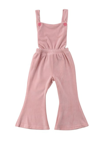 Brea Pink Velvet Bell Bottom Bib Jumper