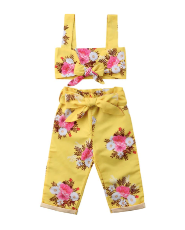 Ginger Yellow Floral Top & Pant Set