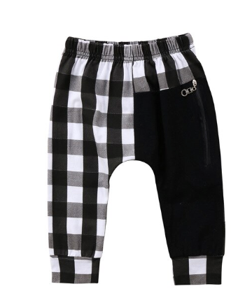 Duke Black & White Buffalo Plaid Drop Crotch Jogger