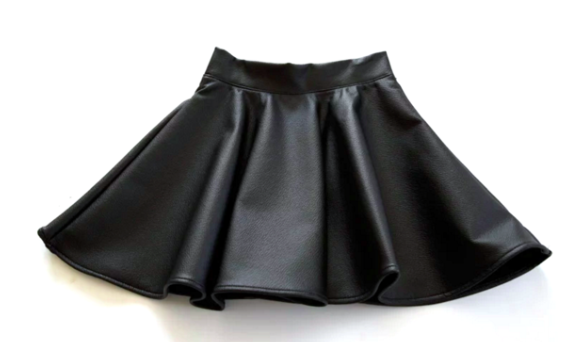 Black PU Fit & Flare Skirt for Kids Children Baby Toddler Infant Clothing