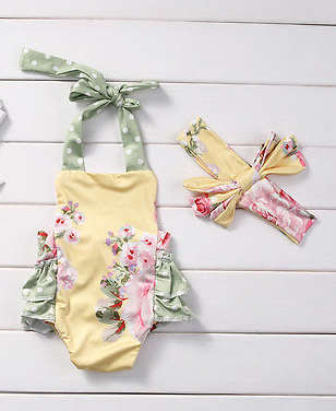 Yellow & Green Floral One Piece Halter Swim with headband Girls Kids Toddler Children Infant Baby Clothes
