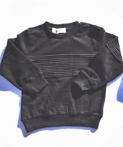 Black Pleated Solid Long Sleeve Pullover  Unisex Boys Girls Kids Toddler Children Infant Baby Clothes