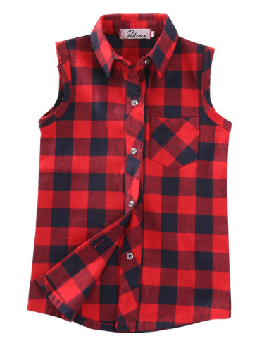 Red & Black Sleeveless Plaid Top