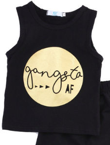 Gangsta AF tank top black gold  Unisex Boys Girls Kids Toddler Children Infant Baby Clothes