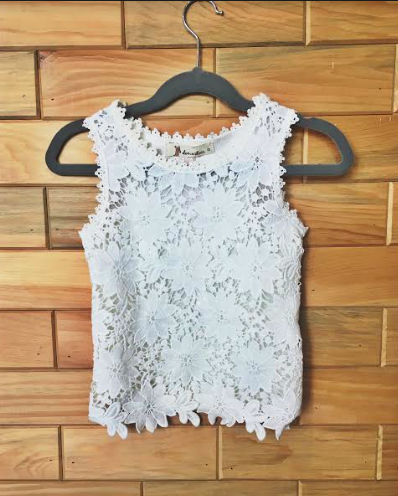 White Floral Crochet Tank Top for Girls Kids Toddler Children Infant Baby Clothes Spring Summer